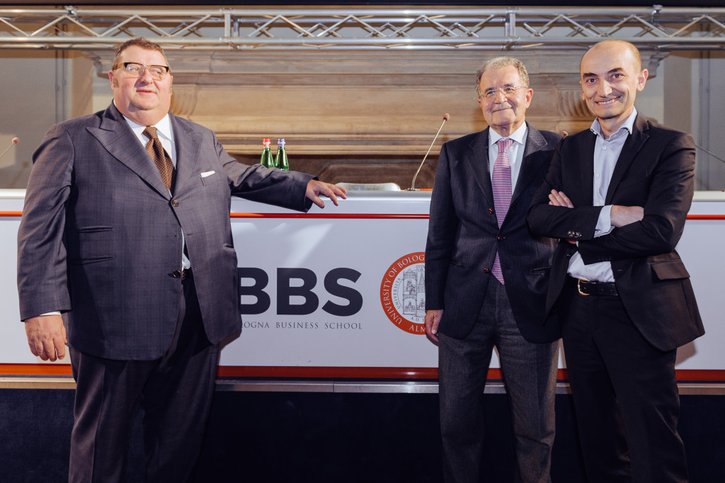 Massimo Bergami, Dean BBS con Romano Prodi e Claudio Domenicali, CEO Ducati Motor Holding